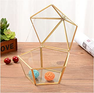 Alrsodl Exquisite Faceted Pentagon Gilt Metal Geometric Shape Clear Glass Hinged Top Lid Flower Room Plant Terrarium Box Jewelry Box Handicraft for Tabletop Home Decoration