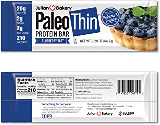 Paleo Protein Bar (Blueberry Tart) 12 Bars (20g Egg White Protein 2 Net Carbs w/Probiotics)