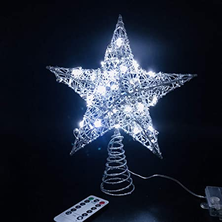 10 Silver Star watermark 6.5x3.5cm barrettes