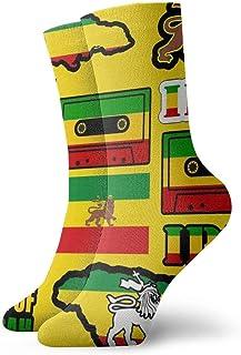 yting, Rasta Lion Jamaica Reggae Flag Map Calcetines de vestir con cinta magnética Calcetines divertidos Calcetines locos Calcetines casuales para niñas Niños