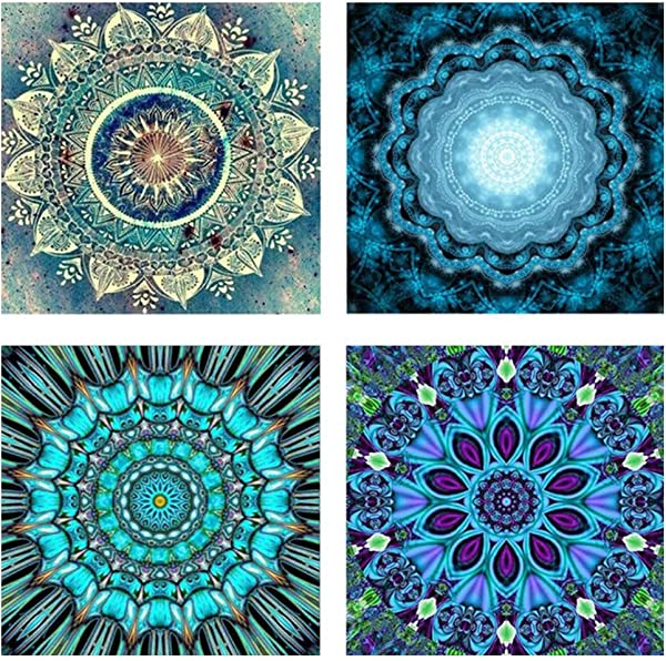 Lomsarsh 4PCS 5D Diamond Draw Round Diamond5D Embroidery Paintings Rhinestone Pasted DIY Diamond Painting Cross Stitch
