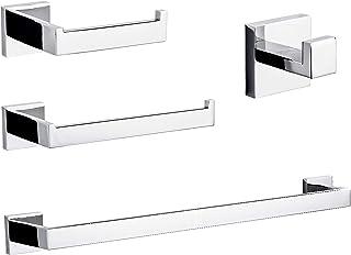 Bathroom Towel Bars Set, 4-Piece Chrome Polish Bath Hardware Accessories, SUS304 Stainless Steel Bathroom Hardware Set, Including Towel Rack, Toilet Paper Holder, Towel Holder and Robe Hook.