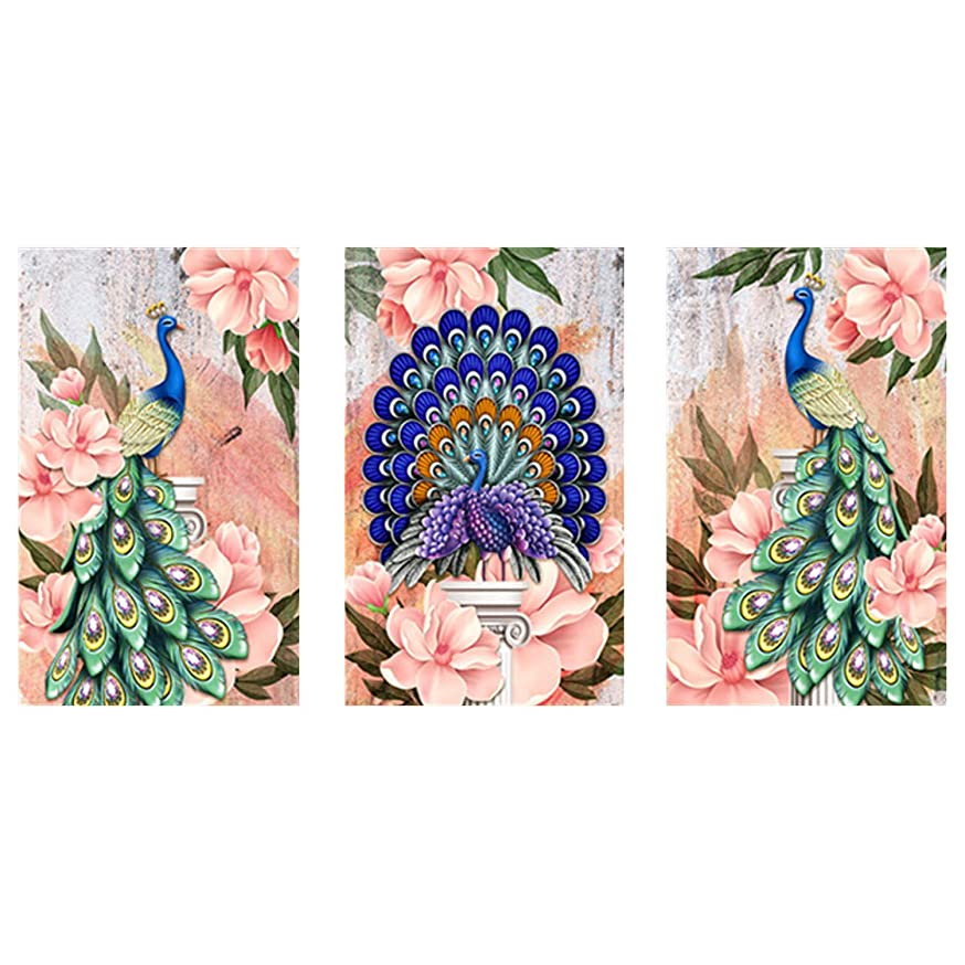 3 Panels Diamond Painting Kits for Adults Full Drill 47X20'' 5D DIY Paint-by-Number Kits with Diamonds for Home Wall Decors - Peacock 120X50 cm