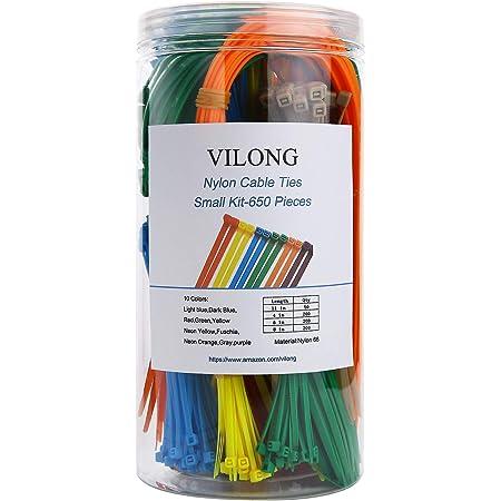600 pièces Nylon Cable Tie Kit Noir-Pro Power