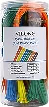Nylon Zip Ties Kit, Multi-Purpose Self-Locking Cable Tie Wire Wraps 650 Pieces 4 6 8 11 inch