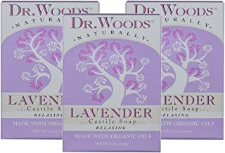 Dr. Woods Exfoliating Lavender Bar Soap with Organic Shea Butter, 5.25 oz (Pack of 3)