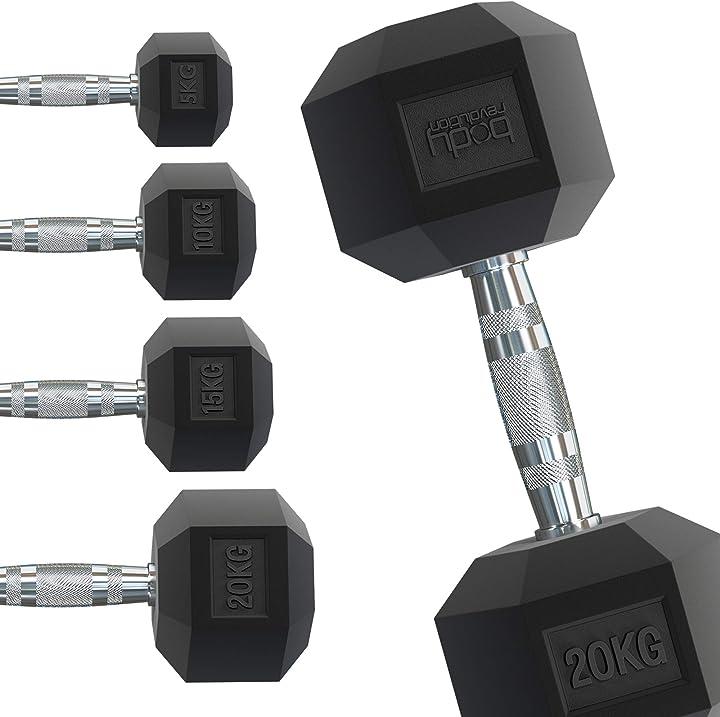 Manubri esagonali in gomma e ferro – variazioni di peso e misure vendute separatamente body revolution B073ZG714W