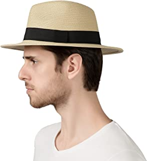 Lanzom Men Wide Brim Straw Foldable Roll Up Hat فدورا Beach Beach Sun Hat UPF50 +