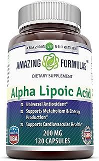 Amazing Formulas Alpha Lipoic Acid * 200mg 120 Capsules Per Bottle * Pure ALA Capsules - Ideal Formulas Supplement for Hea...