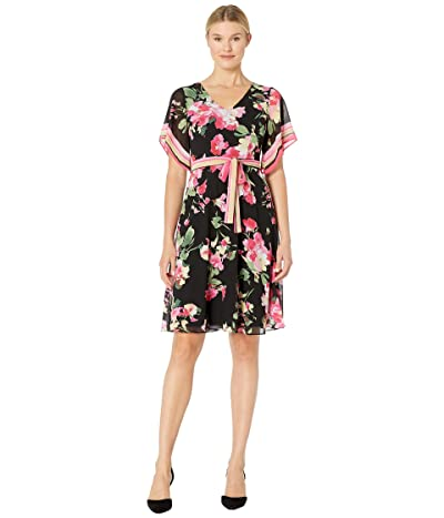 Donna Morgan Printed Chiffon Wrap Dress (Black/Berry Pink Multi) Women