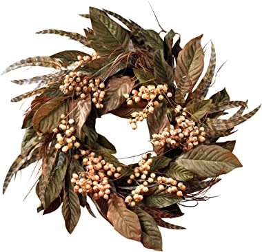 Nearly Natural 4681 Feather and Berry Wreath, 24-Inch, Multi Color