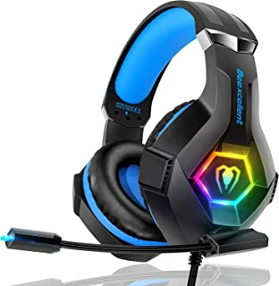 Beexcellent Gaming Headset PS4 Headset Pro 7.1 Surround Sound Noise Canceling Flexible Mic with 2pcs Mic Cover RGB LED Lig...