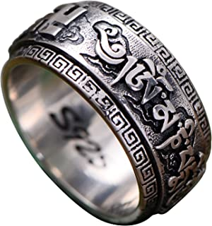 Vintage Real 925 Sterling Silver Buddhist Swastika Ring with Om Mani Padme Hum for Men Women