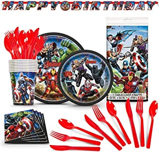 Avengers Birthday Party Supplies - Avenger Themed Kit, Includes 78 Premium Pieces With Extra Cutlery - Superhero Party Dec...