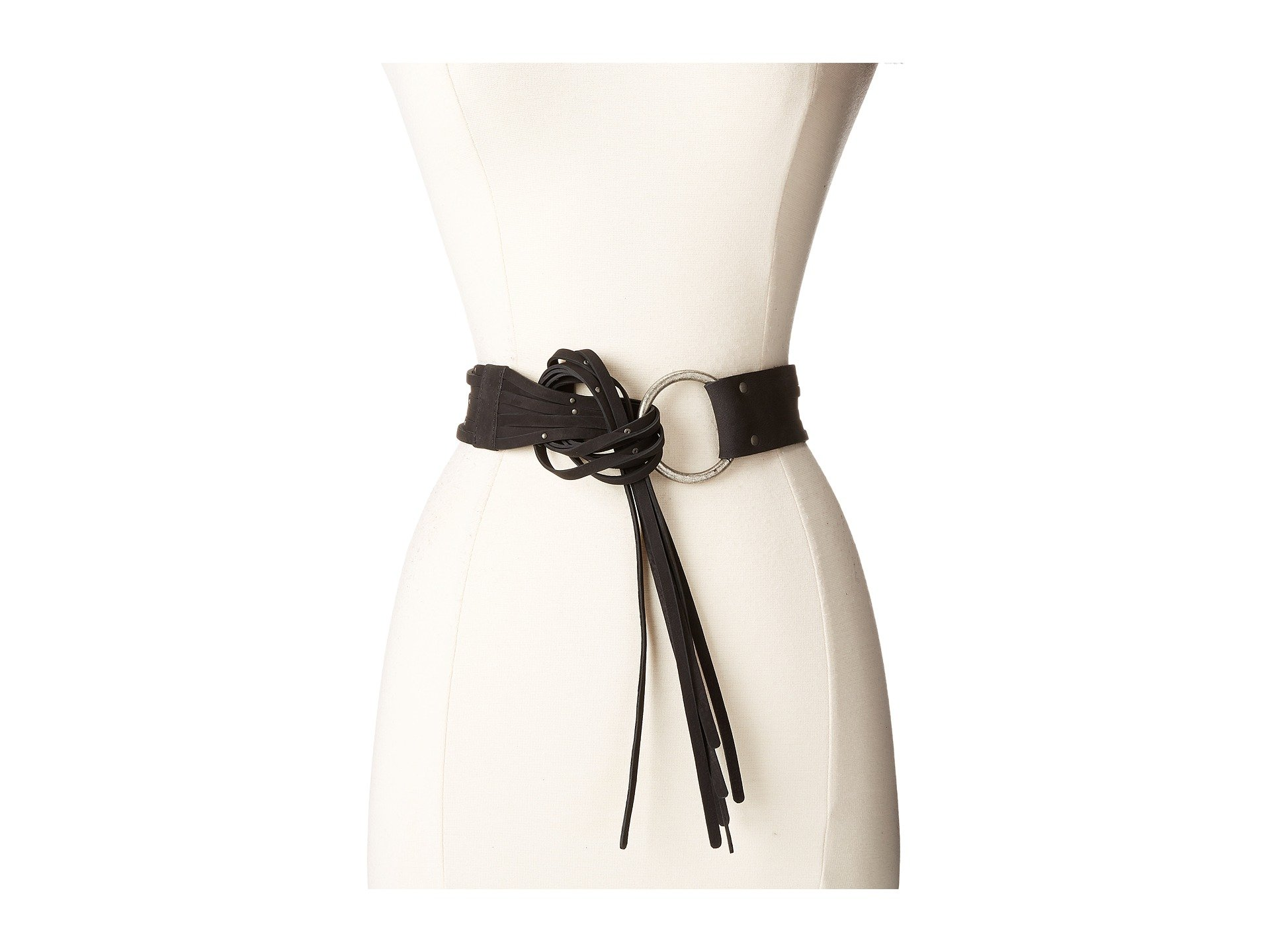 45mm Pebble Leather Fringe Belt with Ring Buckle