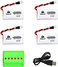 Noiposi 4pcs 3.7v 500mAh lipo Battery with 6 in 1 Charger for AKASO A200 DROCON X708 X708W JJRC H43WH H31 H37 H6D Hubsan X4 Goolrc t33 potensic u42wh SGILE RC Quadcopter Gyro Drone