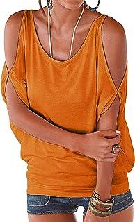 3e48c93c4a446b YOINS Bluse Damen Kurzarm Schulterfrei Oberteil Tops Damen Sommer Carmen  Shirt Rundhals Einfarbig