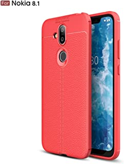 Cruzerlite Nokia 8.1 Case, Cruzerlite Flexible Slim Case with Leather Texture Grip Pattern and Shock Absorption TPU Cover for Nokia 8.1 (2018)
