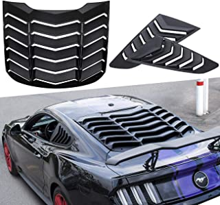 Yoursme Rear Window Louvers and Quarter Side Window Scoop Louvers Matte Black ABS Fits for Ford Mustang 2015 2016 2017 2018 2019 2020