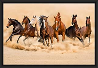 Poylaamo, Seven Running Horses Framed Wall Painting for Living Room, Bedroom (1). Size 12X18inches