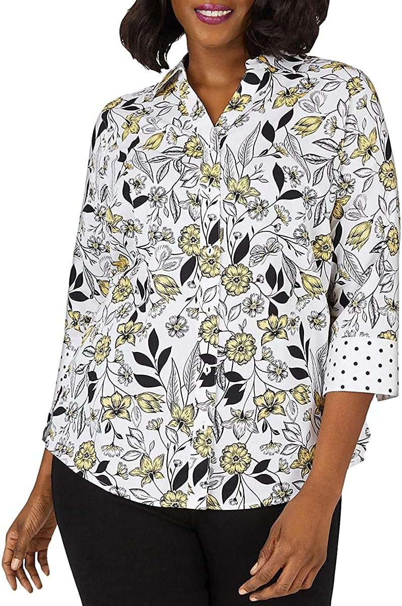 Foxcroft Womens Mary Plus Wrinkle Free Floral Toile Shirt