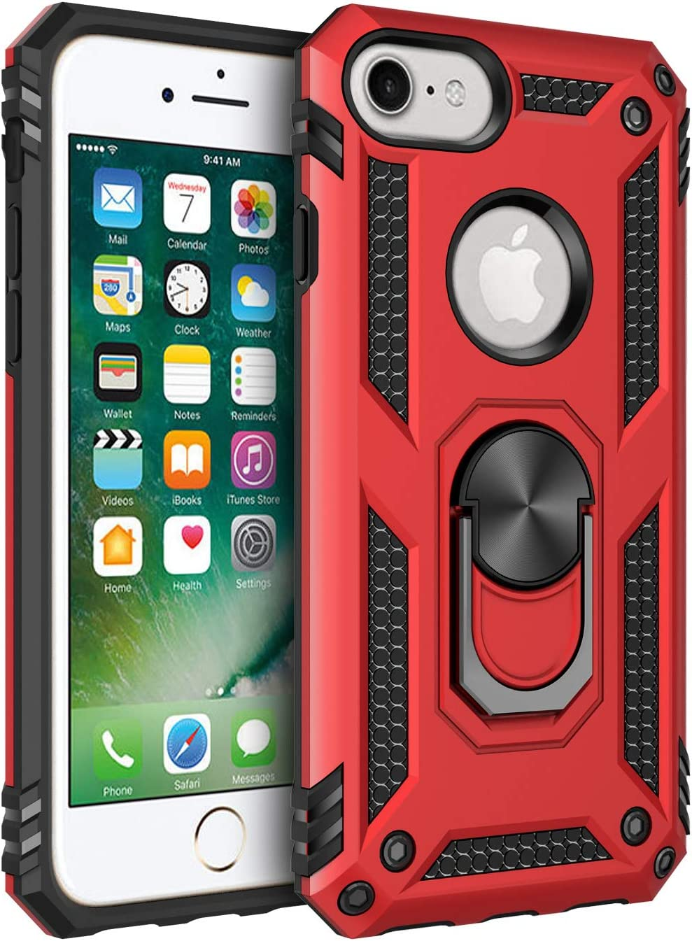 Korecase iPhone 6 6s iPhone 7 iPhone 8 Case, Extreme Protection Military Armor Dual Layer Drop Proof Cover Ring Kickstand Red