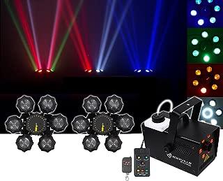 (2) Chauvet DJ Helicopter Q6 DMX Rotating Dance Floor Lights+Fog Machine+Lights