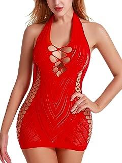 FasiCat Women Fishnet Babydoll Lingerie Chemise Halter Nightwear Mini Teddy Dress