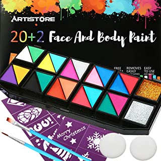 Face Paint Set, ARTISTORE 22 Colors Kit with 20 Colors, 1 Gold Glitter Powder, 1 Silver Glitter Powder, 16 Stencils, 2 Brushes, 2 Sponges, Best Face Painting-Hypoallergenic, Non-Toxic, Easily Remove