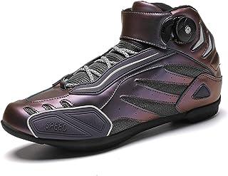 Sebasty Bottes de Moto Professionnelles pour Hommes,Chaussures de Locomotive,Chaussures de Spin également Adaptées Aux Cha...