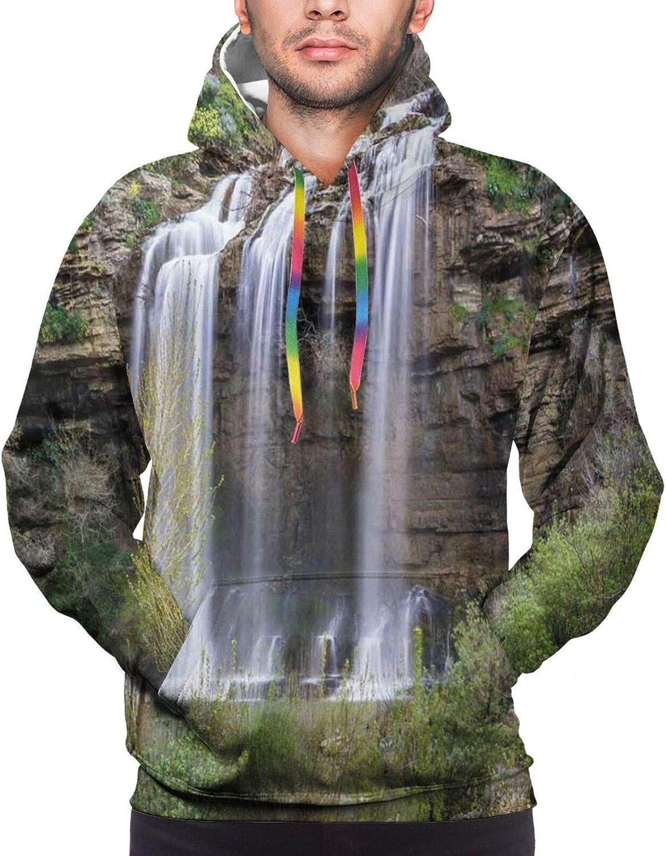 Men's Hoodies Sweatshirts,Photo of Tropic Islands in The Pacific Sea with Vivid Sky View Peaceful Idyllic