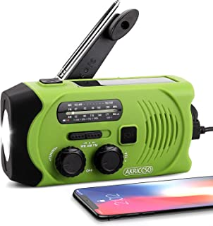 [Upgraded Version] Emergency Solar Hand Crank Portable Radio, Self Powered NOAA Weather Radio for Emergency with AM/FM, LE...