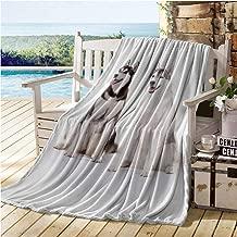 Alaskan Malamute Baby Blankets for Boys,Furry Arctic Doggies Husky Whelp Pedigree Pet Happy Siberian Mammal,get Well Gifts Black Cream White 70