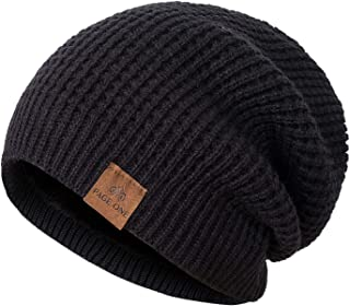 PAGE ONE Mens Winter Beanie Hat Warm Knit Hat Men Thick Fleece Lined Winter Hat Men Women