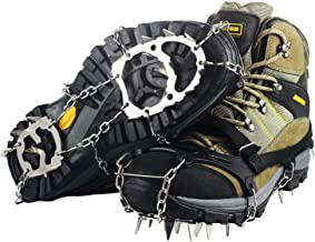 Ravifun Ice Cleats, Traction Crampons Snow Grips Boots Women Men Anti Slip Shoes 18 Teeth Stainless Steel Spikes for Winter Walking Hiking Climbing Jogging Mountaineering