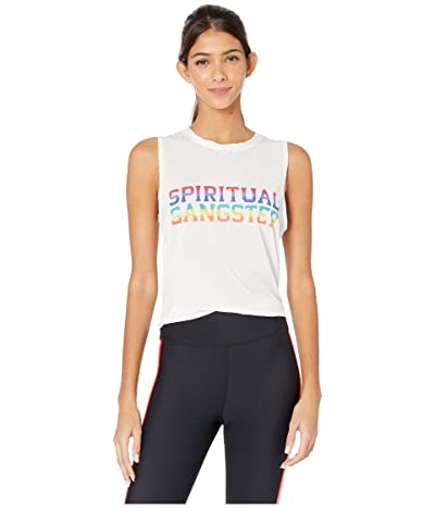 Spiritual Gangster Active Muscle Tank (Rainbow Varsity White) Women