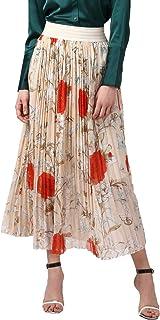 StyleStone Women's Floral Pleated Skirt (3535PleatCreamRed)