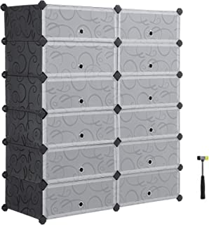 SONGMICS 6-Tier Shoe Rack, Space Saving 24-Pair Plastic Shoe Units with Doors, Modular Cube Storage, Ideal for Entryway Hallway Bathroom Living Room, 32.7 L x 12.2 W x 41.3 H Inches Black ULPC26HV1