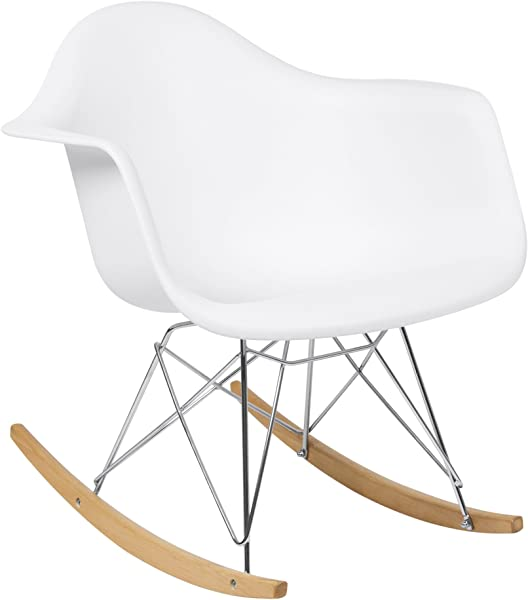 Best Choice Products Living Room Mid Century Modern Eames Style Accent Rocking Arm Chair Home Furniture White
