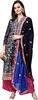 Ishin Women's Poly Georgette Navy Blue Embroidered A-Line Kurta Palazzo Dupatta Set