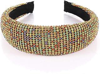 PHALIN Padded Rhinestone Crystal Headbands for Women Bejewelled Hairbands Wide Velvelt Hair Hoop for Wedding Bridal Party ...