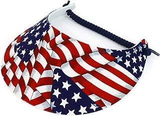 Trendy Apparel Shop Patriotic USA Flag Design Elastic String Coil Foam Sun Visor