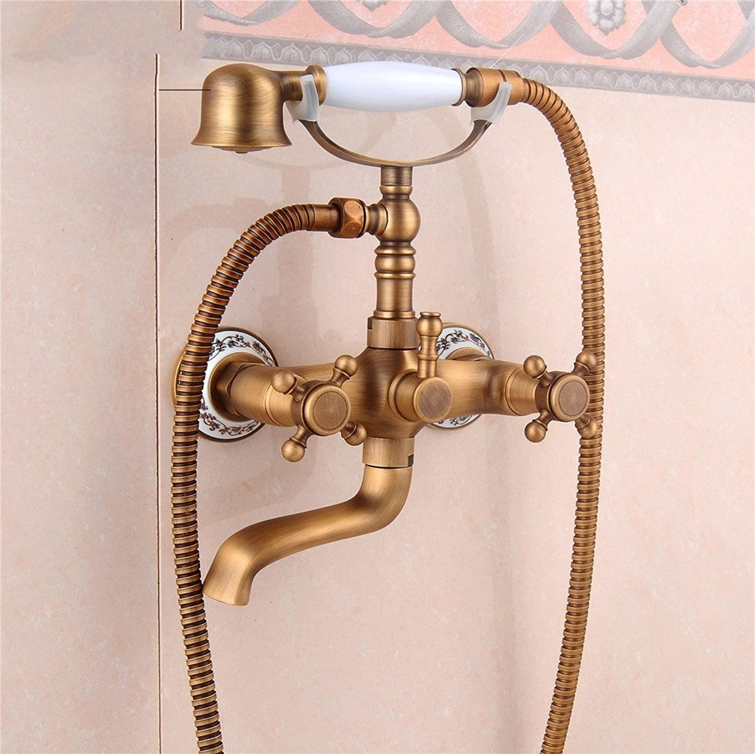 Bijjaladeva Bathroom Sink Vessel Faucet Basin Mixer Tap All copper antique Bath Faucet wall mounted easy mixing of hot and cold water valve shower faucet bluee-tiled shower kit