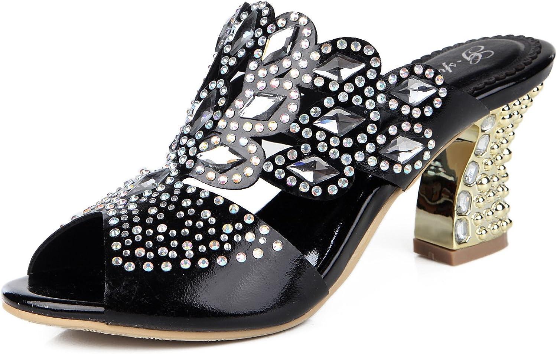 Honeystore Women's Handmade Rhombus Rhinestone Chunky Heel Sandals