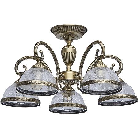 MW-Light 481011805 Lustre Plafonnier à 5 Bras Design Classique en Métal couleur Bronze Antique Abat-jours en Verre Craquelé pour Salle à Manger Salon 5x60W E27
