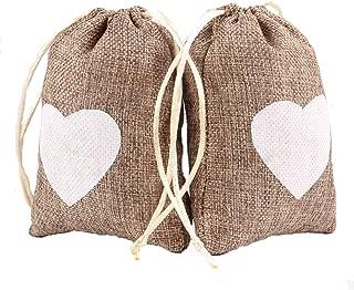 Junxia Natural Burlap Gift Bags for Wedding Party Decoration