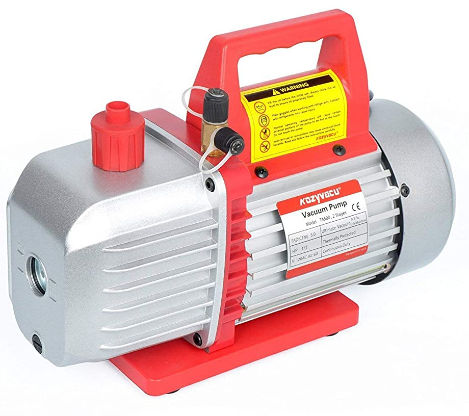 Kozyvacu 5CFM 2-Stage Rotary Vane Vacuum Pump (5.0CFM, 40Micron, 1/2HP) for HVAC/Auto AC Refrigerant Recharging, Degassing wine or epoxy, Milking cow or lamb, Medical, Food processing etc.