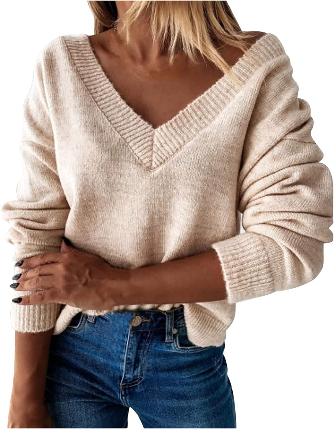 Fashion Sweaters for Women V Neck Long Sleeve Pullover Solid Color Knitted Blouse Autumn Winter Tops