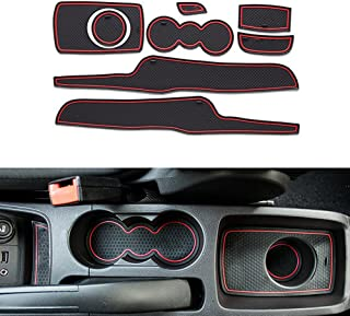 Custom Fit Cup Holder and Door Liner Accessories fits for Ford Fiesta 2008-2012 (8pcs) Red