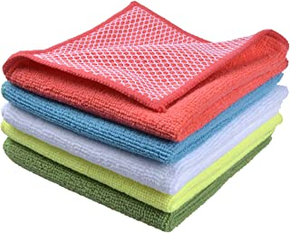 Sinland 5 color Assorted Microfiber Dish Cloth Best Kitchen Cloths Cleaning Cloths With Poly Scour Side 12